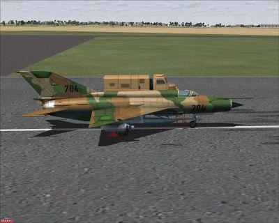 Libya Air Force MiG-21MF on runway.