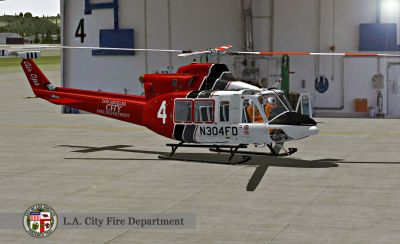 """Los Angeles Fire Department"" Bell 412 on the ground."