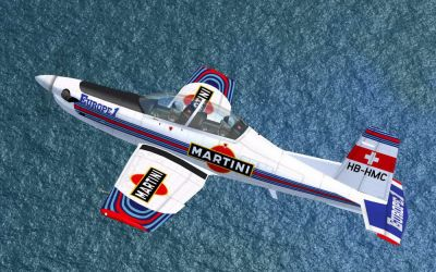 Martini Patrol Pilatus PC-9A in flight.