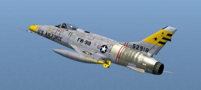 North American Aviation F-100D Super Sabre in flight.