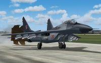 Polish Air Force Mikoyan MiG-29 landing on runway.