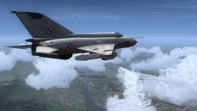 Polish MiG-21MF in flight.