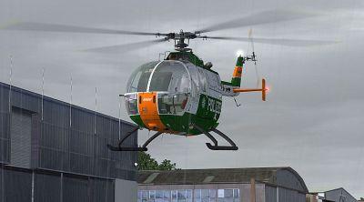 Polizei Bayern Bo 105 in flight.