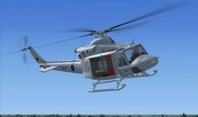 RAF Bell 412 in flight.
