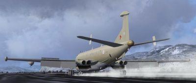 RAF Hawker Siddeley Nimrod on runway.