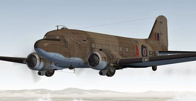 RAF Middle East Douglas C-47 in flight.