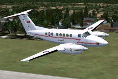 RCAF Beechcraft King Air B200 in flight.
