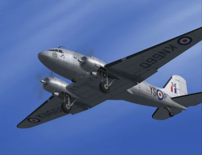 Royal Air Force Douglas C-47 Skytrain KN660 in flight.