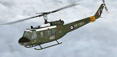 Royal Australian Air Force Bell UH-1H in flight.