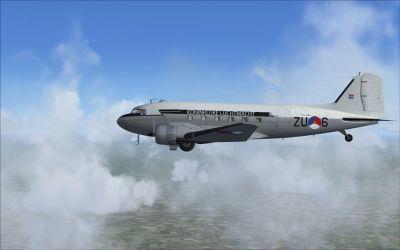 Royal Dutch Air Force Douglas C-47 ZU-5 in flight.