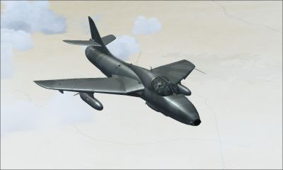 Royal Omani Air Force Hawker Hunter in flight.