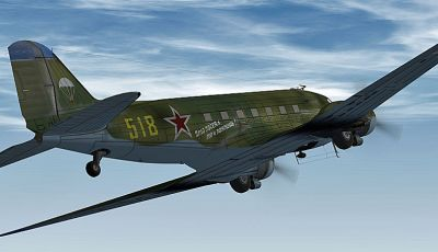 Russia Air Force Douglas C-47 in flight.