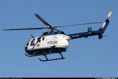 Photograph of SAPS MMB BO-105 in flight.