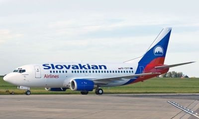 "The new ""Slovakian Airlines"" Boeing 737 preparing for take-off."