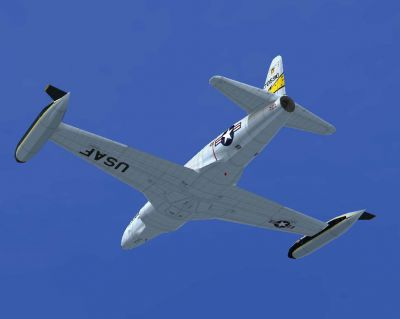 Lockheed T-33A T-Bird Jet Training Aircraft in flight.