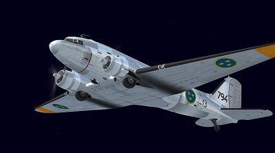 Swedish Air Force Douglas C-47 in flight.