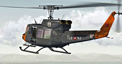Turkish Navy Bell 212 in flight.