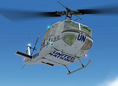 United Nations Bell UH-1H in flight.