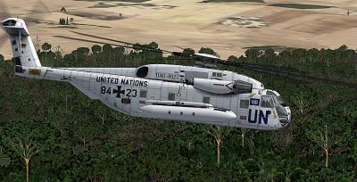 United Nations Sikorsky CH-53 in flight.