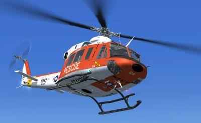 US Navy Bell 412 in flight.