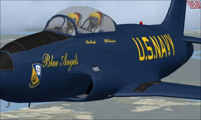 US Navy Blue Angels T-33 in flight.