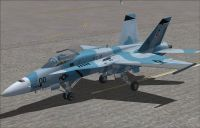 US Navy FA-18 Fighting Omars Blue on runway.