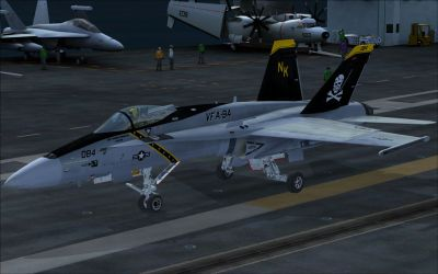 US Navy F/A-18C Jolly Rogers CAG on runway.