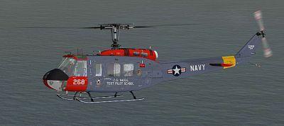 US Navy Test Pilot School Bell UH-1D in flight.
