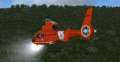 USCG AS365 in flight.