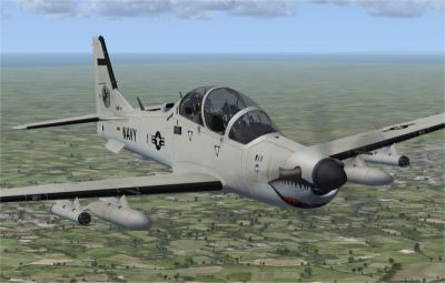 USN Low Vis Embraer A-29B Super Tucano in flight.