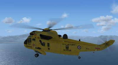 Virtavia Sea King in flight.