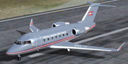 Bombardier Challenger 604 on runway.