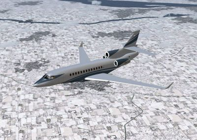 Era Alaska Dassault Falcon 7x in flight.