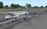 Lockheed Jetstar on runway.