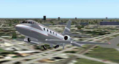 Lockheed Jetstar taking off.