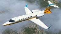 Orbit Airlines Learjet 45 in flight.