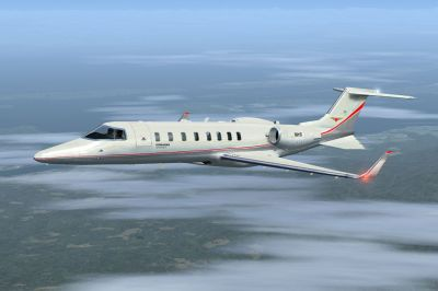 Skyhearts Air Ambulance Learjet 45 in flight.