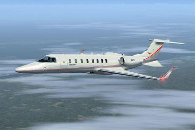Skyhearts Air Ambulance Learjet 45 in flight.
