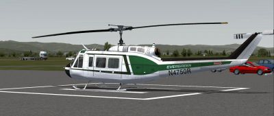 Evergreen International Aviation Bell 205 on the ground.