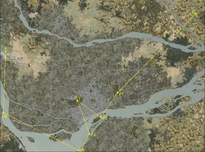 Montreal Rally Mission flight path.