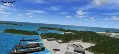 The port using the Midway Islands scenery addon.