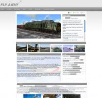 Screenshot of the Fly Away Simulation website, November 2011 showing the new home page design.
