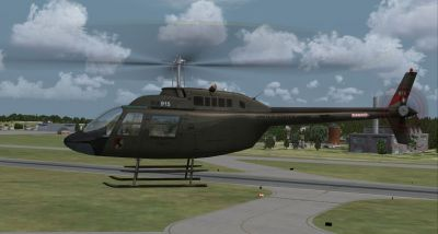 Fictional Army OH-58C Kiowa Scout #03915 in flight.