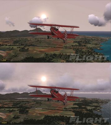 Image showing the difference between the low and high graphics settings in Microsoft Flight.