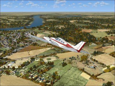 Screenshot of plane in flight over Angers-Marce Airport Scenery.