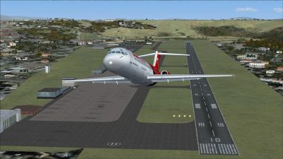 Screenshot of plane taking off from Arturo Michelena International Airport.