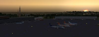 Screenshot of Bristol International Airport at dawn.