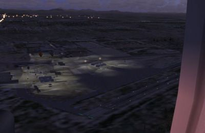 Night time aerial view of Casa Grande Municipal Airport.