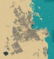 Daytime aerial shot of Doha Qatar.