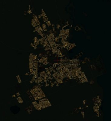 Night-time aerial shot of Doha Qatar.